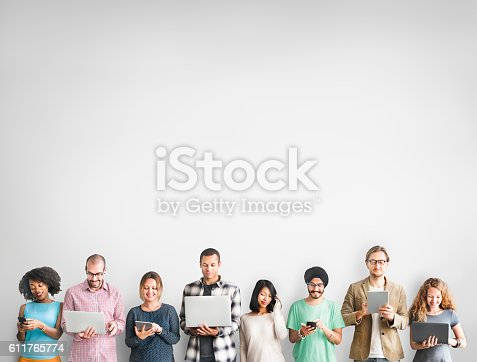 istock Group of People Connection Digital Device Concept 611765774