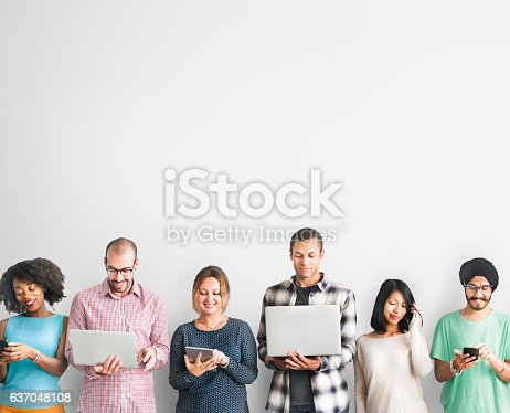 istock Group of People Connection Digital Device Concept 637048108