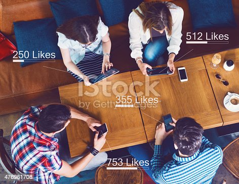 Group of people counting likes