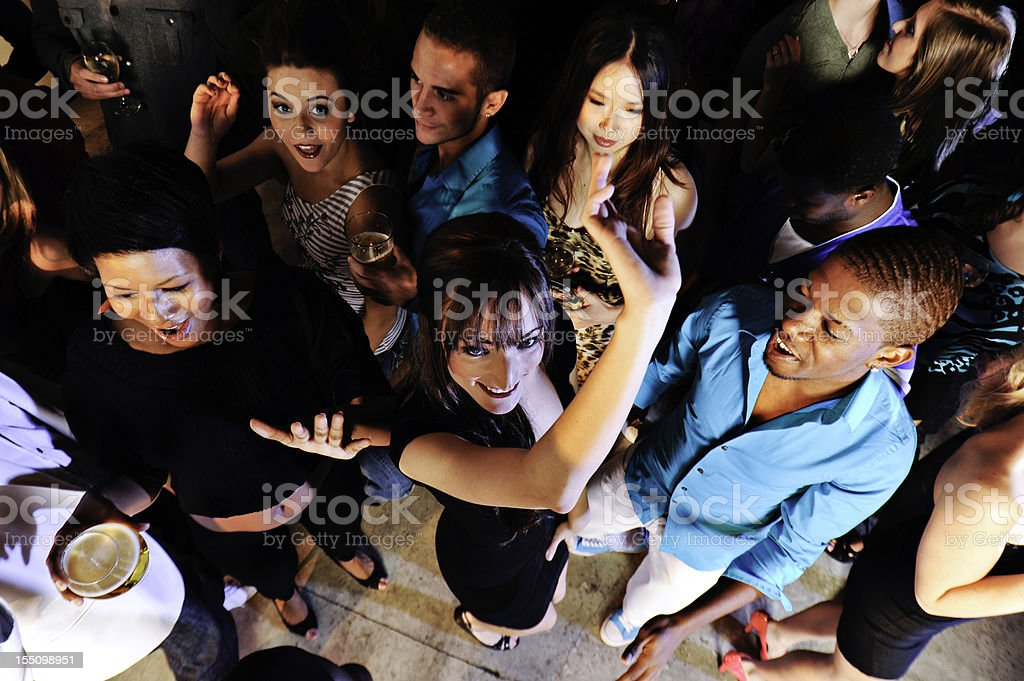 Group of People dancing in a bar royalty-free stock photo