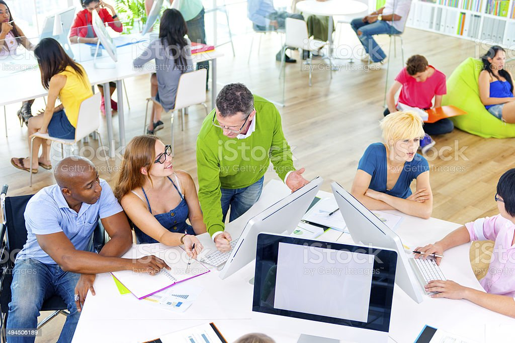 Group of People Discussing Business Issues stock photo