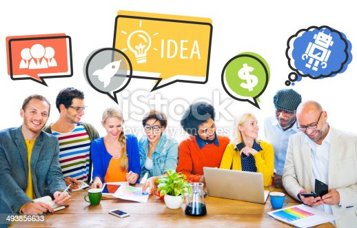 638013502istockphoto Group of People Discussing With Speech Bubbles 493856633