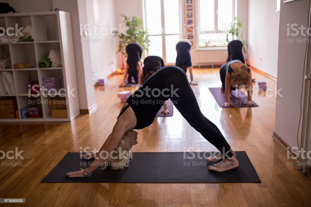 Group of people doing Downward-Facing Dog together royalty-free stock photo