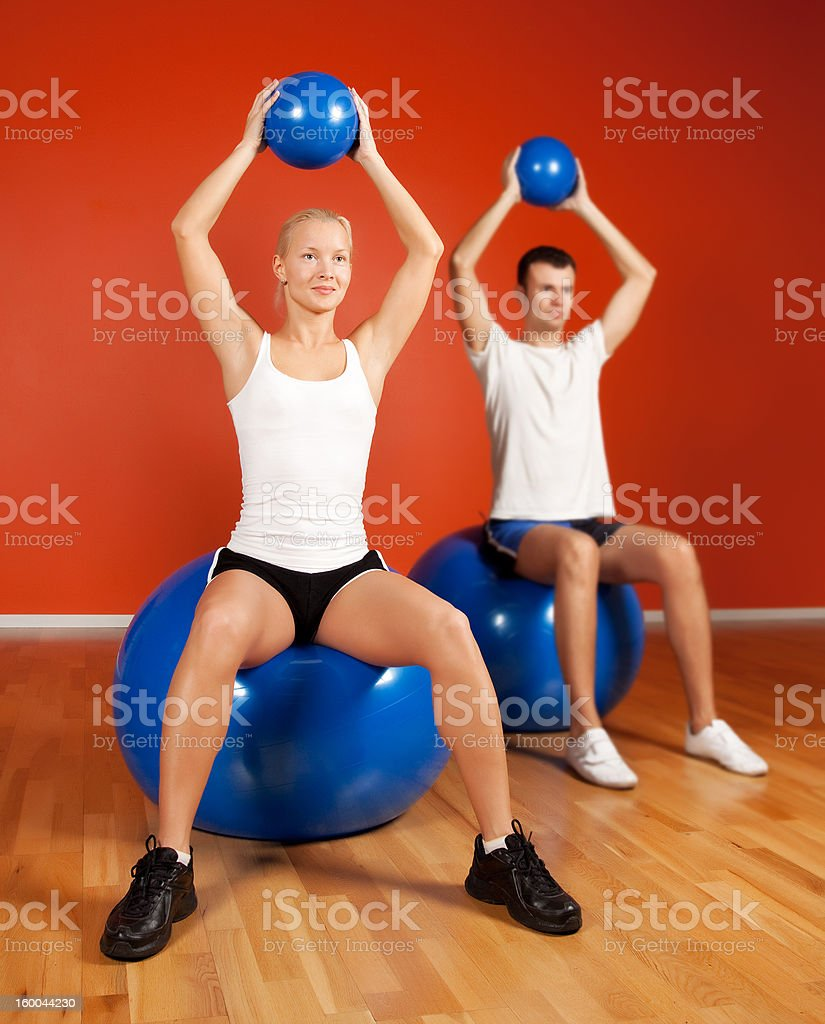 Group of people doing yoga exercise royalty-free stock photo