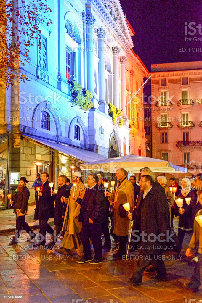 Group of people during the interfaith procession stock photo