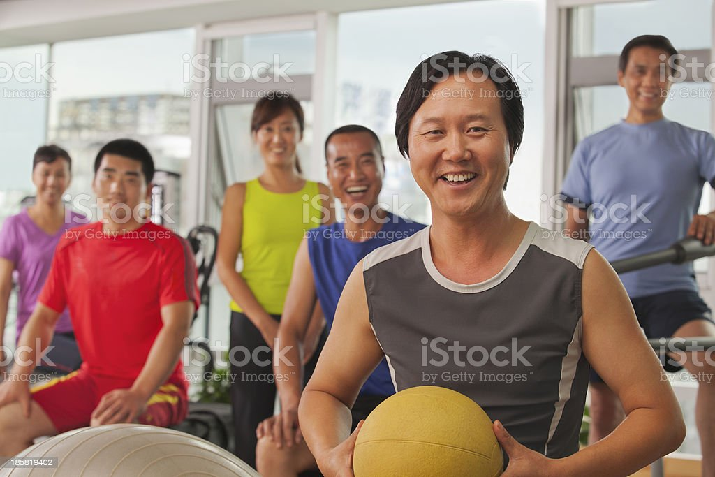 Group of people exercising in the gym, portrait royalty-free stock photo