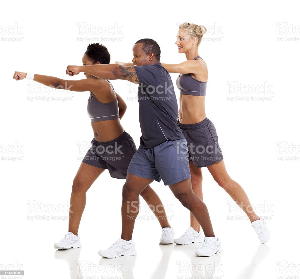 group of people exercising karate stock photo