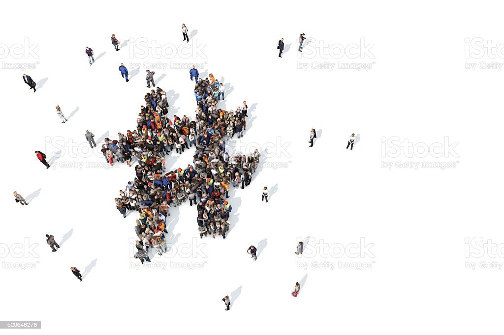Group of people forming a hashtag symbol stock photo