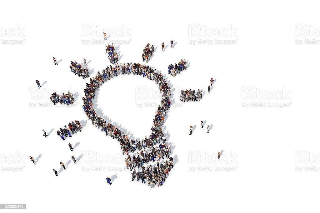 Eine Gruppe Von Menschen Bilden Eine Glühbirne Symbol Stock ...