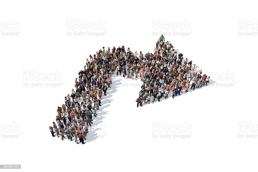 Group of people forming a right angle arrow sign stock photo