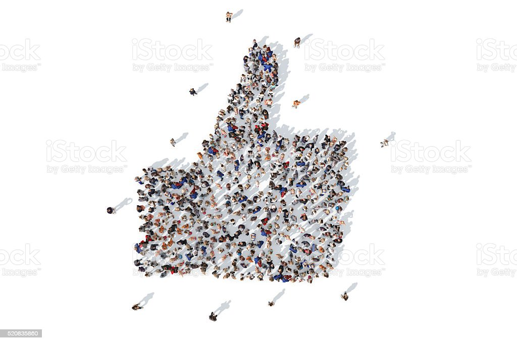 Group of people forming a thumbs up icon stock photo