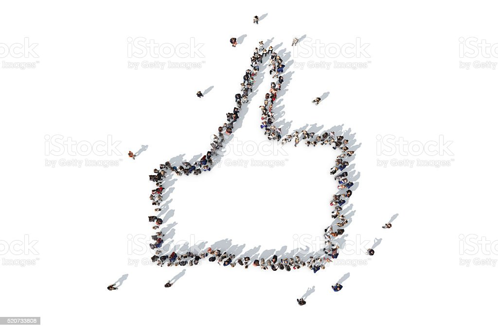 Group of people forming a thumbs up symbol stock photo