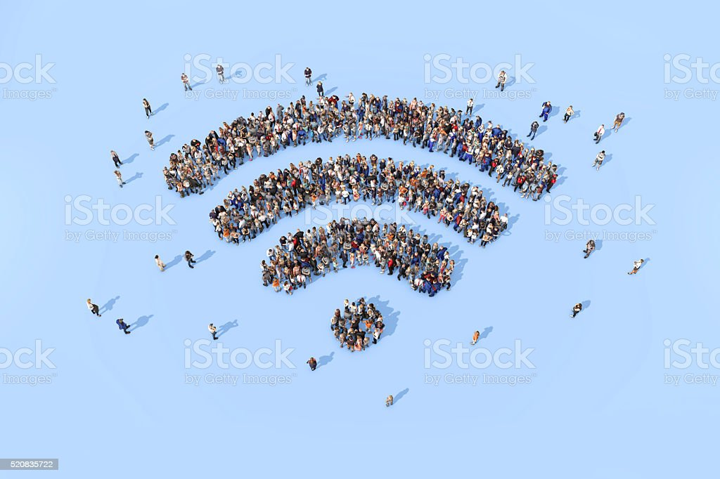 Group of people forming a wifi symbol stock photo