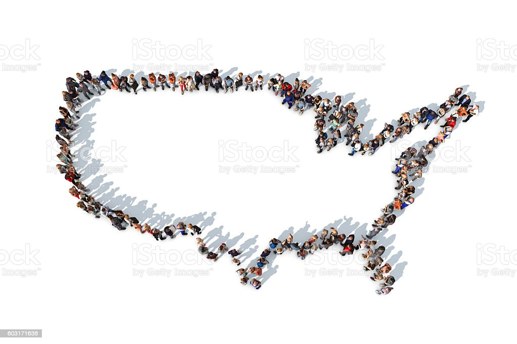 Group of people forming USA map outline stock photo