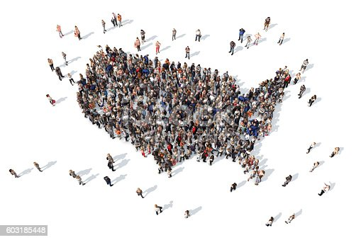 istock Group of people forming USA map 603185448