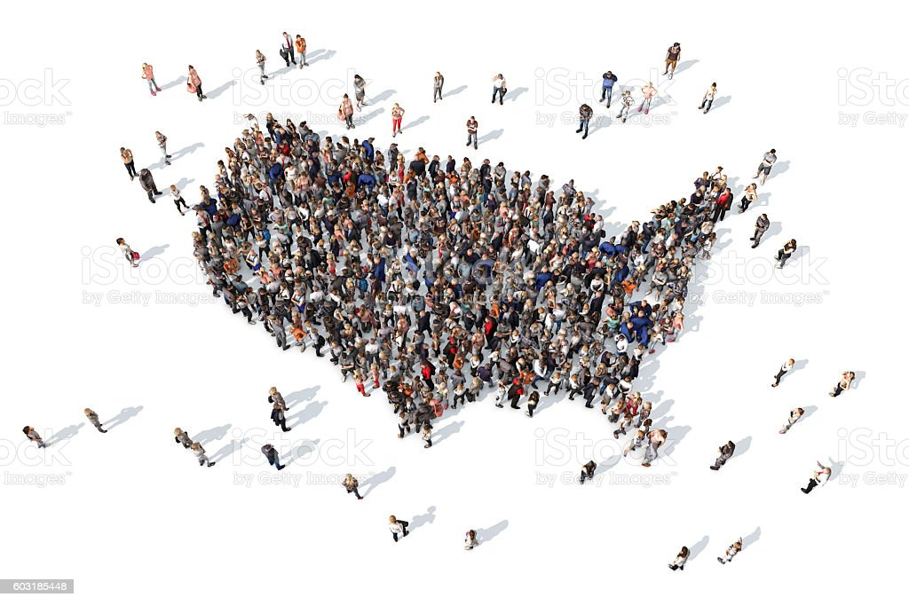 Group of people forming USA map stock photo
