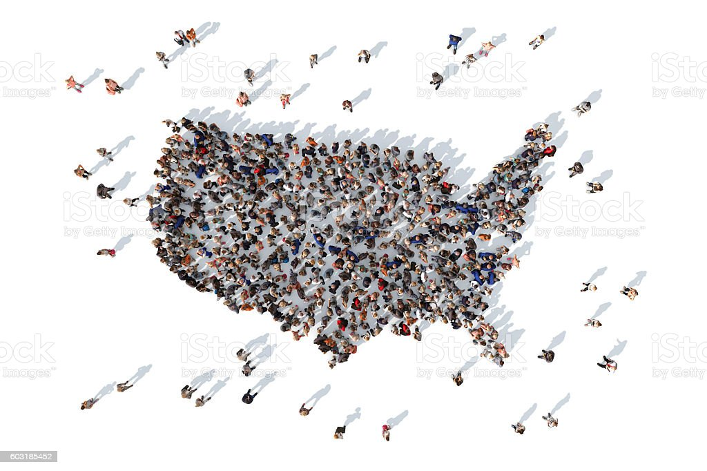Group of people forming USA map stok fotoğrafı