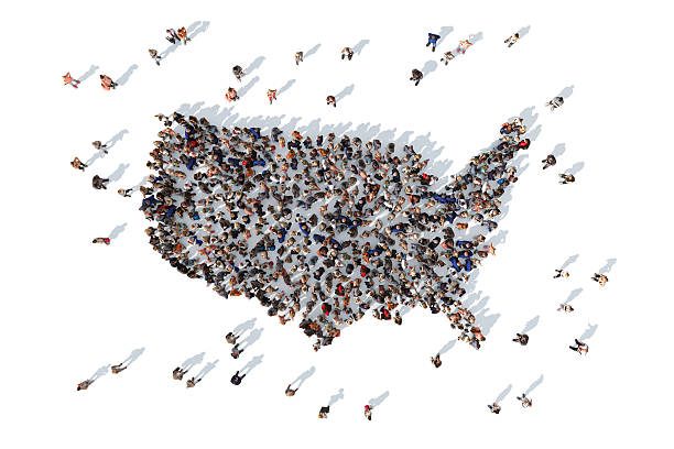 Group of people forming USA map - Photo