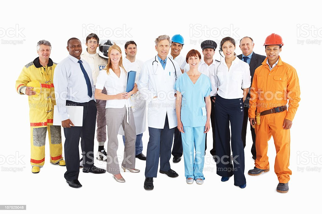 Group of people from their respective professions stock photo