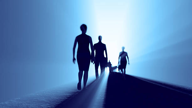 Group of people going towards the light people go to the light irradiation stock pictures, royalty-free photos & images