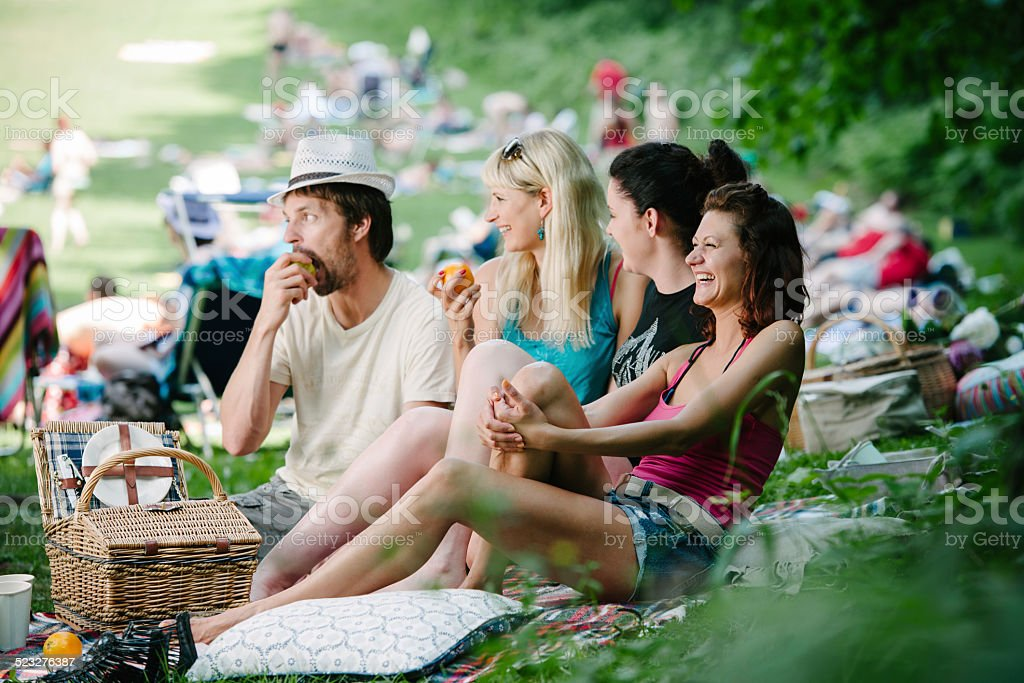 Group Of People Having Fun At A Festival stock photo