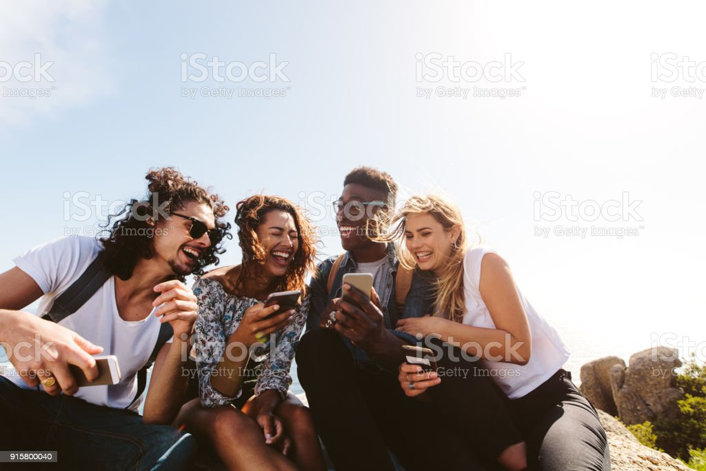 Group of people having fun on their holidays stock photo