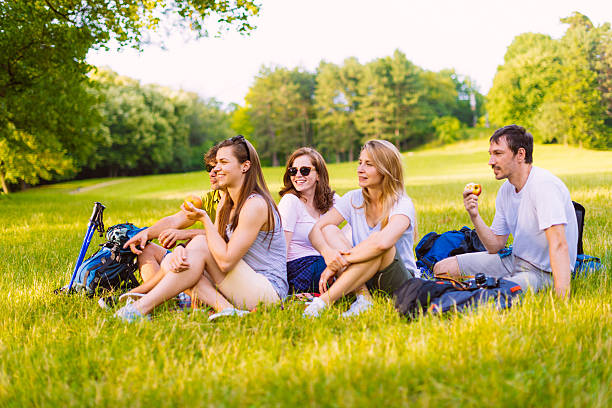 group of people having picnic in nature stock photo more pictures