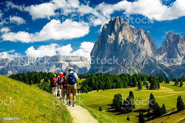 Group of people hiking in the nature