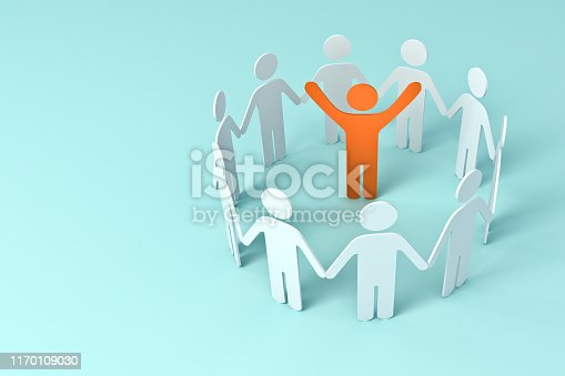 688200936istockphoto Group of people holding hands with one leader orange man in center of the circle business concepts on blue pastel color background 1170109030