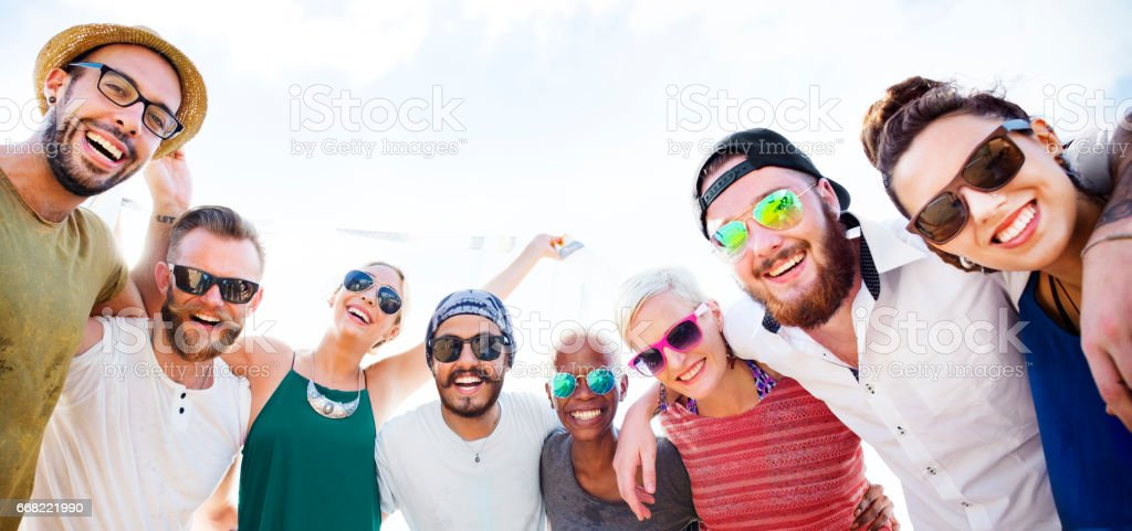 Group Of People Hugging Concept stock photo