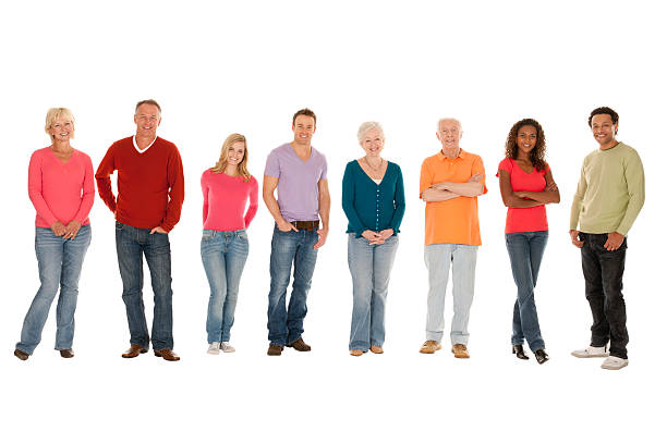 Group of People in a Line  people in a row stock pictures, royalty-free photos & images