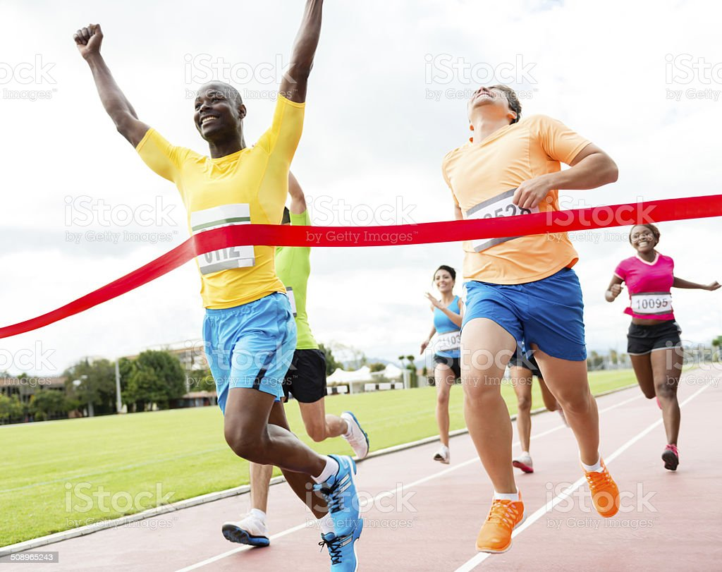 Group of people in a marathon stock photo