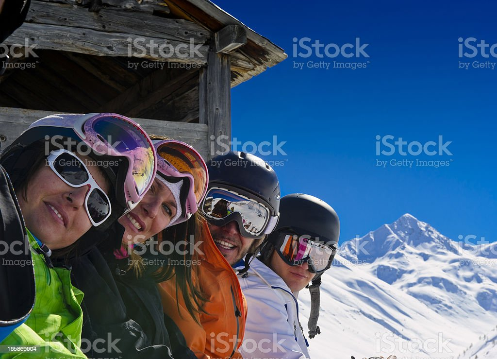 Group of people in powder snow royalty-free stock photo