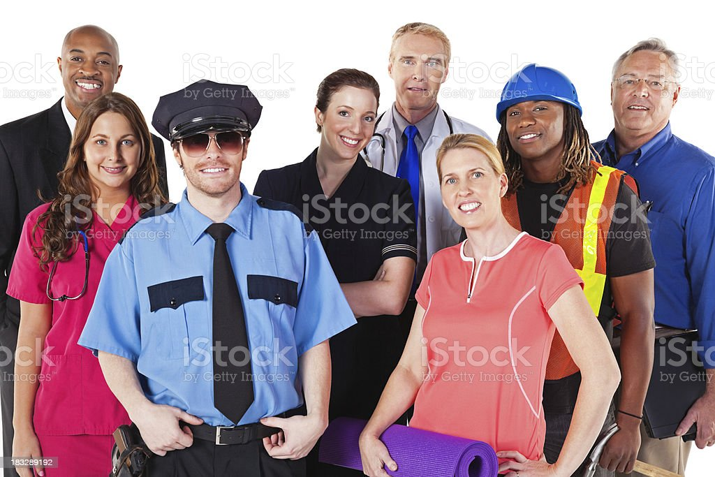 Group of People in Various Professions, Isolated on White stock photo