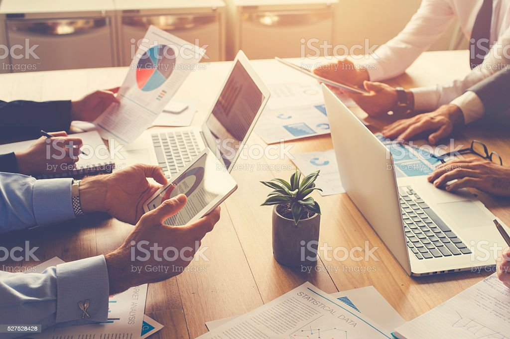 Group of people meeting with technology. royalty-free stock photo