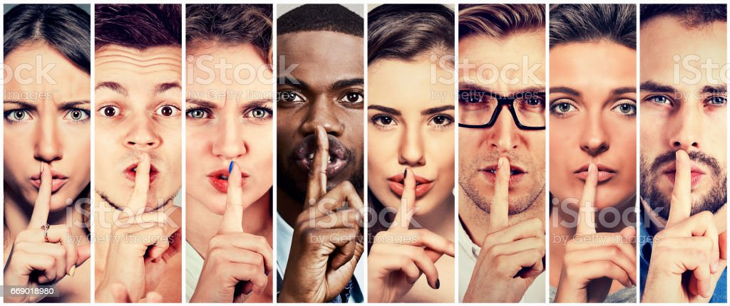 Group of people men women with finger on lips gesture stock photo
