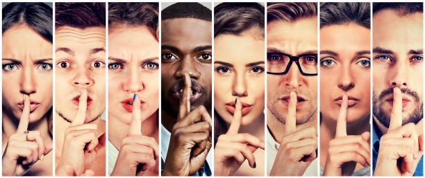 group of people men women with finger on lips gesture - silence stock pictures, royalty-free photos & images