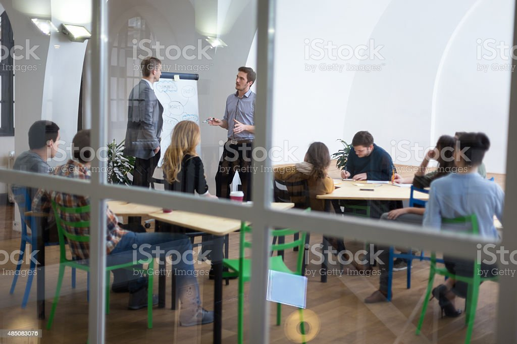 Group of people on seminar stock photo