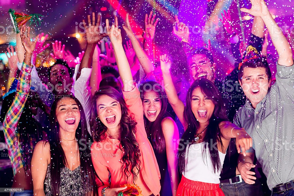 Group of people partying stock photo