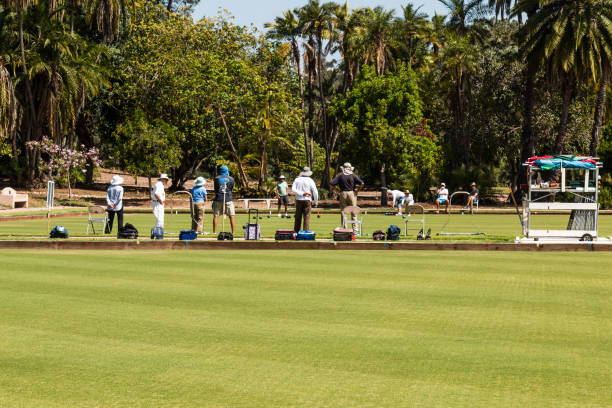 Group of People Play Lawn Bowling in Balboa Park stock photo