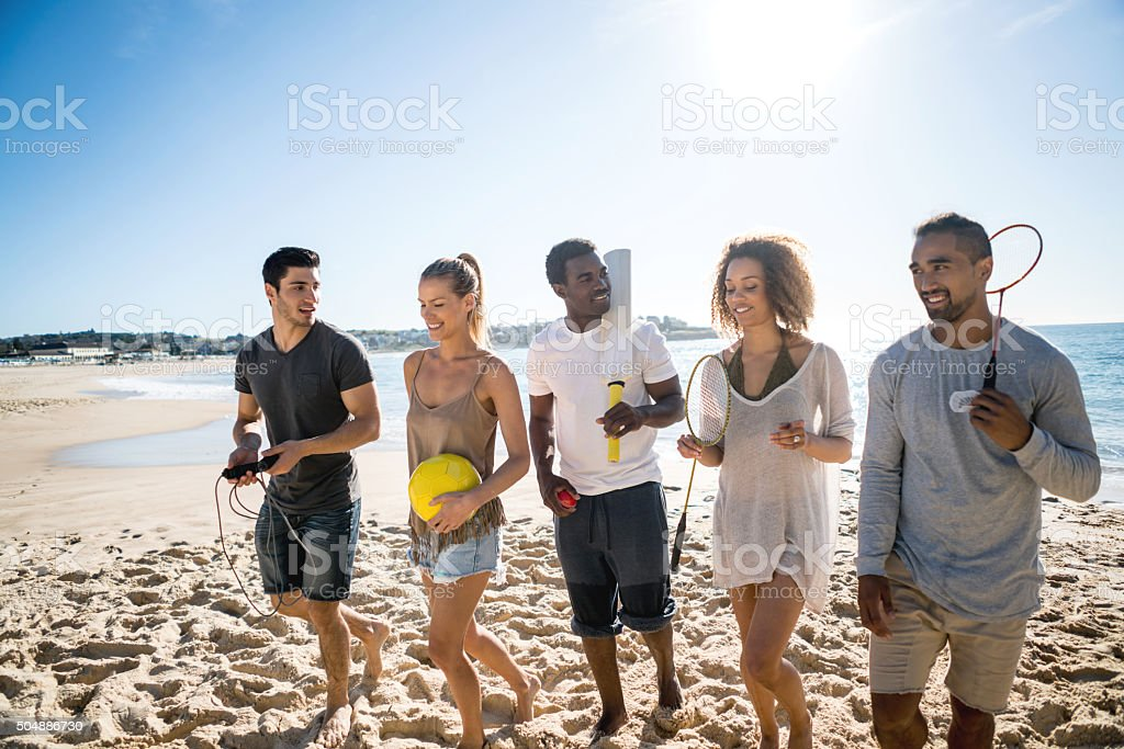 Group of people playing sports stock photo