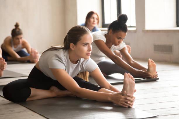 gruppe von menschen, die yoga zu praktizieren, kopf, knie nach vorne beugen - yin yoga stock-fotos und bilder