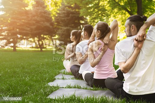 istock Group of people practicing yoga in park 1001556000