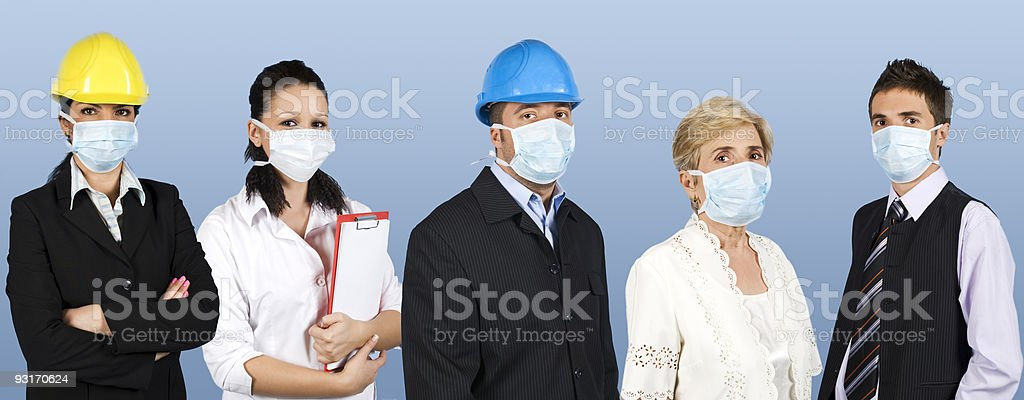 Group of people protect from flu royalty-free stock photo