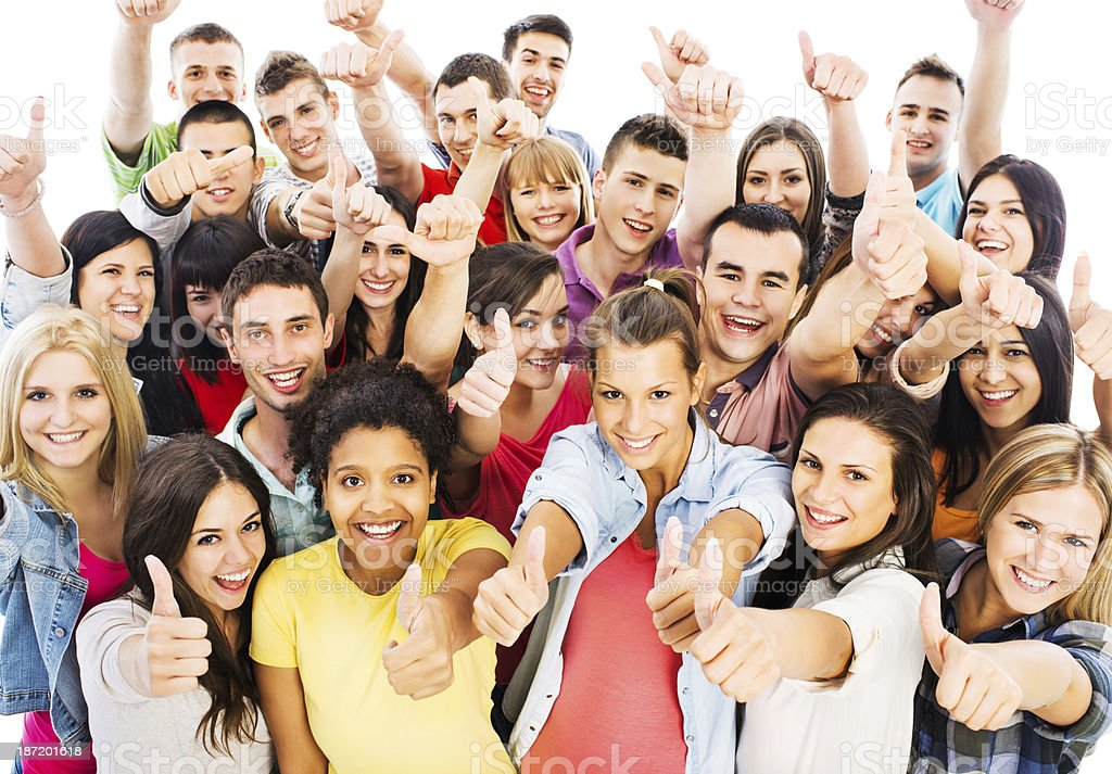 Group of people showing thumbs up. royalty-free stock photo