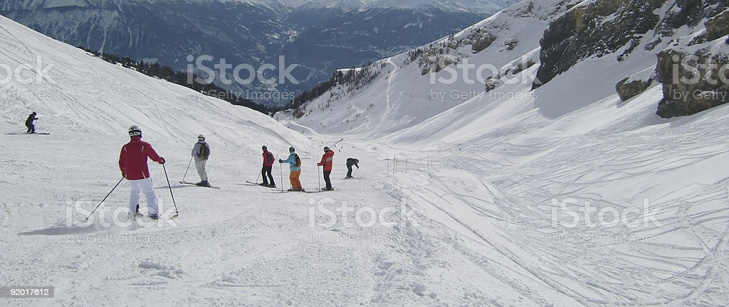 Group of people skiing royalty-free stock photo