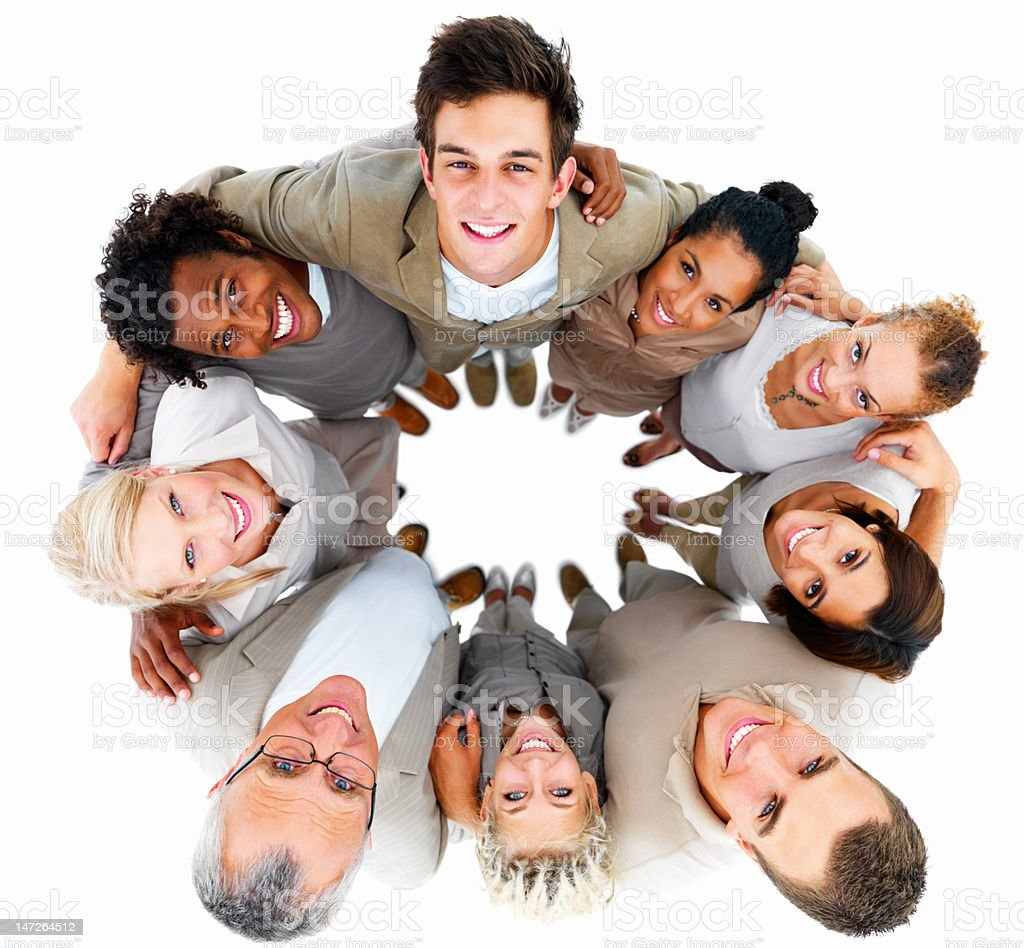 Group of people smiling royalty-free stock photo
