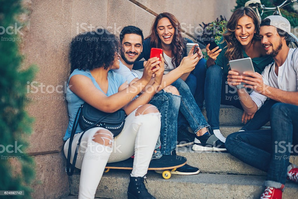 Group of people social networking stock photo