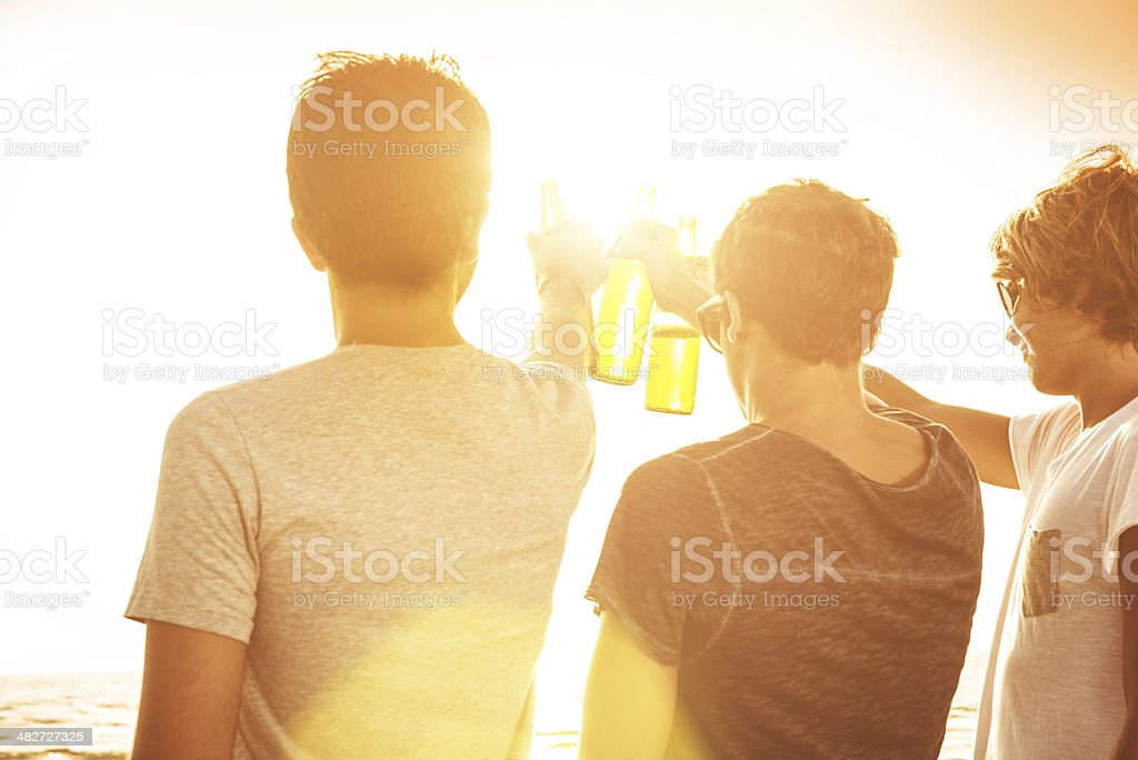 group of people toasting at sunset with beers royalty-free stock photo