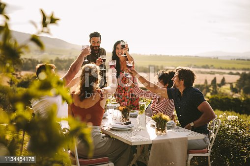 Friends making big party outdoors. Group of people toasting wine during a dinner party.